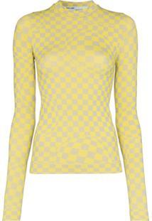 Off-White Blusa Com Estampa Quadriculada - Amarelo