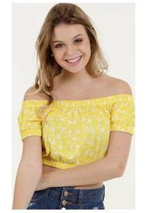 Blusa Feminina Cropped Estampa Floral Ombro A Ombro Marisa