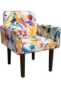 Poltrona Decorativa Dani Para Sala E Recepção Estampado Color D18 - D'Rossi