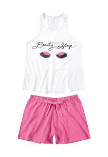 Pijama Curto Regata Beauty Malwee Liberta (1000059811) 100% Algodão