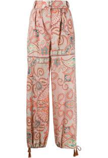 Etro Paisley-Print Drawstring-Hem Trousers - Laranja