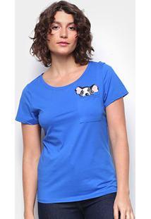 Camiseta Top Moda Boston Terrier Feminina - Feminino-Azul
