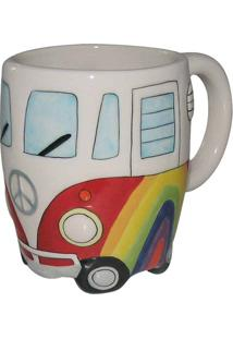 Caneca Hippie- Branca & Vermelha- 330Ml- Full Fifull Fit