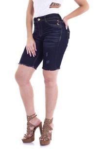 0256fd7f9d27 ... Bermuda Jeans Cos Alto Max Denim Feminino Azul Escuro 4589-03 - 50