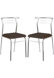 Cadeira Carraro 1708 Cacau,Cromado 2 Cadeiras