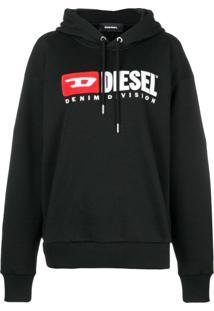 Diesel Blusa De Moletom Com Logo 'Denim Vision' - Preto