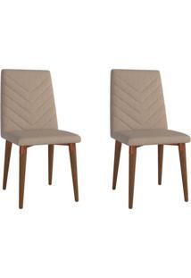 Conjunto Com 2 Cadeiras De Jantar Liv Marrom