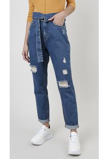 Calça Jeans Feminina Sawary Mom Cintura Alta Cós Dobrado Com Cinto Azul Escuro