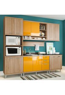 Cozinha Compacta Sem Tampo 12 Portas 5814 Argila/Amarelo - Multimóveis