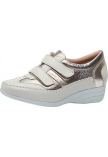 Sapato Anabela Doctor Shoes 3140 Off White/Metalic