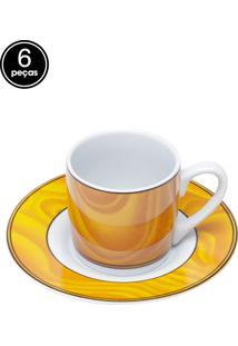 Conjunto 6Pçs Xícaras De Porcelana Para Café Com Pires Silva 90Ml Bon Gourmet