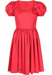 Dolce & Gabbana Vestido De Algodão Com Mangas Bufantes - Vermelho