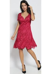 Vestido Rendado- Vinho- Nectarinanectarina
