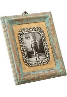 Porta-Retrato De Madeira Speicher Decorativo Com Pedras