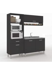 Cozinha Compacta 3 Peças 4 Portas Uccelli Vedere Preto Tx