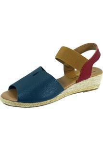 Sandália Anabela S2 Shoes Elisa Azul Jeans