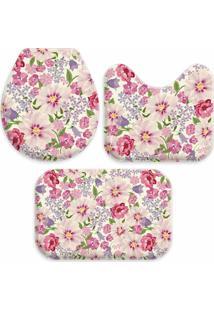 Jogo Tapetes Love Decor Para Banheiro Flowers Pink Único - Kanui
