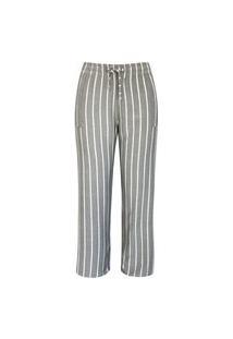 Calça Pantalona Pau A Pique Listrada Cinza