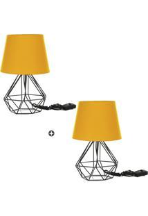 Kit 2 Abajur Diamante Dome Amarelo Com Aramado Preto - Amarelo - Dafiti