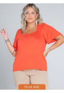 Blusa Feminina Plus Size Laranja