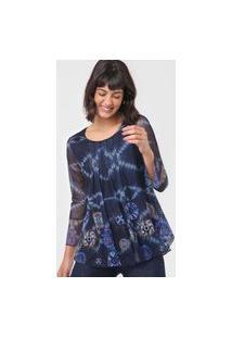 Blusa Desigual Tule Azul-Marinho