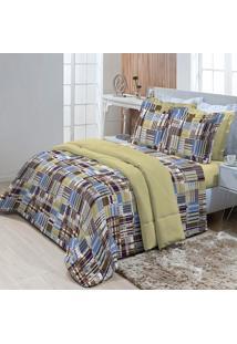 Jogo De Cama Casal Textil Lar Listras Azul Percal 180 Fios