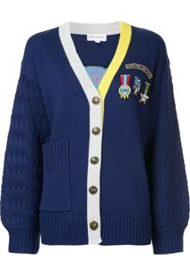 Mira Mikati Badge And Patch Cardigan - Azul