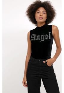 Body Com Escrita Angel Em Veludo