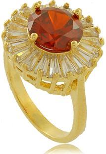 Anel Redondo Com Pedra Vermelha E Explosões Em Zircônias 3Rs Semijoias Dourado - Kanui