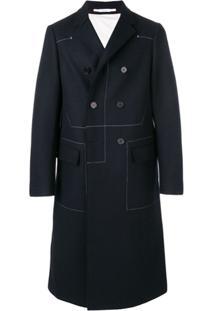 Jil Sander Trench Coat De Lã Com Costura Contrastante - Azul