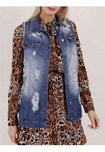 Colete Jeans Destroyed Feminino - Feminino-Azul