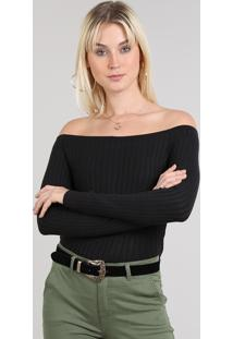 4adf8f8cf9 ... Blusa Feminina Em Tricô Cropped Ombro A Ombro Preta