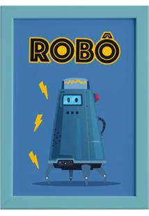 Quadro Infantil Robô Azul Moldura Azul 22X32Cm - Tricae