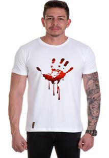 Camiseta Lucas Lunny T Shirt Gola Redonda Mão Sangue Branca