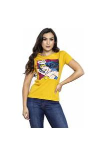 Camiseta Sideway Mulher Maravilha Comics - Amarela