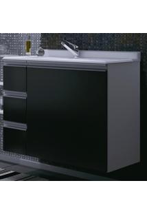 Armário Para Banheiro Branco/Preto Com Gavetas(Lado Esquerdo) -...