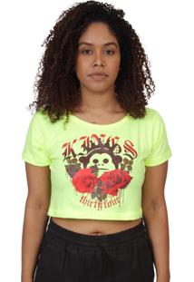 Camiseta Kings Sneakers Cropped Floral Melã£O Neon - Amarelo - Feminino - Dafiti