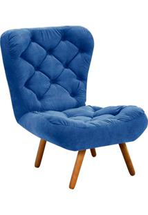 Poltrona D'Rossi Decorativa Botonê Iris Suede Azul Royal Com Pés Palito