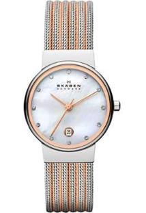 Relógio Skagen Bicolor Ancher Feminino - Feminino-Prata