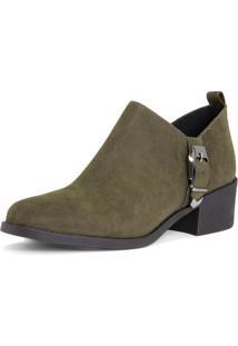 Ankle Boot Com Fivela - Verde Musgo & Prateadaamaro