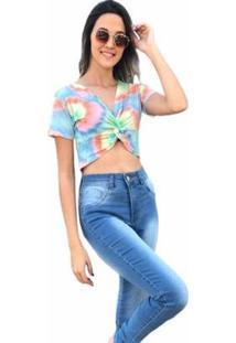 Blusa Cropped D Bell Tie Dye - Feminino-Coral
