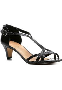 Sandália Couro Shoestock Salto Cone Cobra Feminina - Feminino-Preto