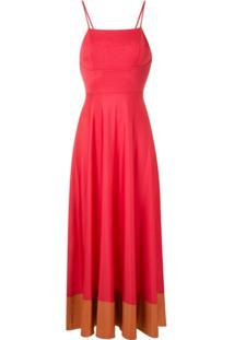 Eva Vestido Midi Com Recorte - Vermelho