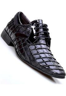 Sapato Social Calvest Com Cadarço Napoleoni Café Masculino - Masculino-Preto