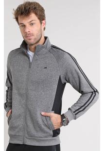 Blusão Masculino Esportivo Ace Em Moletom Com Bolsos Gola Alta Cinza Mescla Escuro