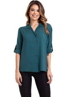 Camisa Viscose Manga ¾ Martingale Feminina - Feminino-Verde