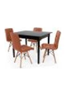 Conjunto Mesa De Jantar Robust 110X90 Preta Com 4 Cadeiras Eiffel Gomos - Marrom