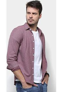 Camisa Rg 518 Bordado Malha Masculina - Masculino-Vinho