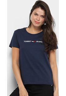 Camiseta Tommy Jeans Logo Feminina - Feminino-Marinho