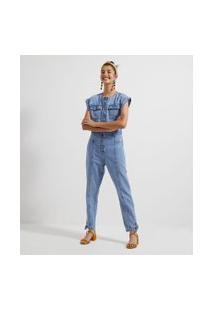 Macacão Jeans Com Botões E Bolsos   Blue Steel   Azul   G